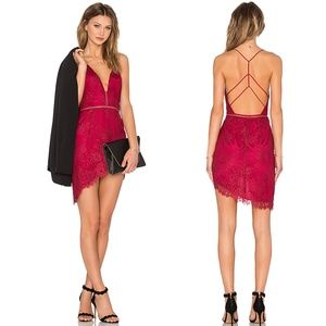 NWT NBD Only One Red Lace Asymmetric Hem Dress